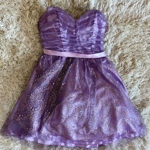 Lavender Purple Strapless Dress